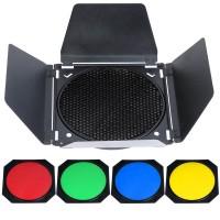 Godox BD-04 Barn Door + Honeycomb Grid + 4 Color Filter for Standard Reflector