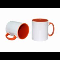 Κεραμική κούπα με εσωτερικό και χερούλι πορτοκαλί 11oz