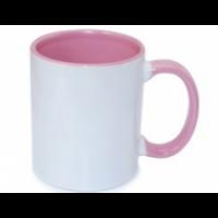 Κεραμική κούπα με εσωτερικό και χερούλι ροζ 11oz