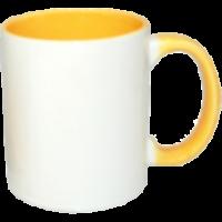 Κεραμική κούπα με εσωτερικό και χερούλι κίτρινο 11oz